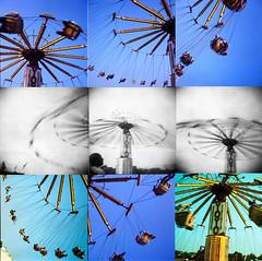 nine yoyos, three cameras (birdcage) Tags: pgcountyfair princegeorgescounty yoyo mosaic holga yashicamat imperial wheeeeee mediumformat dcist