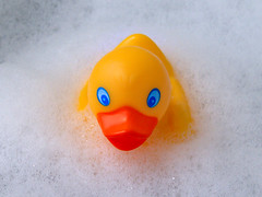 Bubble Bath (Cyron) Tags: flickr duck rubberduck toy takenbyme bubbles orange yellow white photo cyron 2005