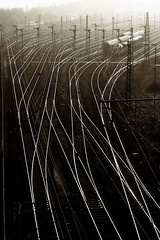 tracks (duesentrieb) Tags: railroad blackandwhite bw film monochrome contrast analog train 35mm germany deutschland europa europe tracks railway ishootfilm predigital scala agfa schwarzweiss agfascala braunschweig niedersachsen lowersaxony hauptgterbahnhof