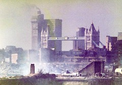 Demolition of London Docks 1982 (Danny McL) Tags: london thames towerbridge demolition riverthames e1 wapping dereliction 959 dockland stkatharinesdock guyshospital londondocks