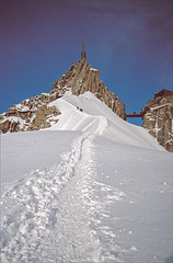 Aiguille du Midi summit (Ron Layters) Tags: mountain france alps nature geotagged slide transparency summit agfa chamonix rescanned aiguilledumidi hautesavoie pentaxmz10 thesource ctprecisa agfachrome mountainsalps geo:lat=45885707 geo:lon=6881390 elevation35004000m altitude3842m summitaiguilledumidi flickrfly tvmast ronlayters 3842m slidefilmthenscanned midiplanarete massifdumontblanc