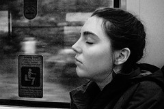 Sleeper, County Cork, Ireland (Seven Seconds Before Sunrise) Tags: travel ireland people bw lauren window train europe cork eire cobh sleeper