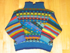 Child pullover  la Kaffe Fassett (Torirot) Tags: blue colour sweater handmade crafts knit craft clothes childrens colourful fairisle kaffefassett pullover intarsia