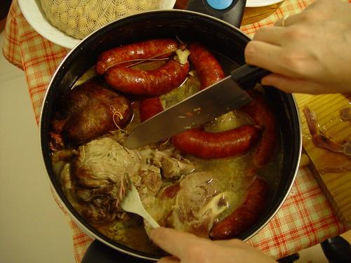 Spain: Galician stew: pork, garbanzo beans, sausage, veal, turnip greens and boiled potatos (Galicia).