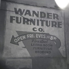 Open Fri. Eves. till 8:30 (mhartford) Tags: holga bw sign furniture minneapolis minnesota