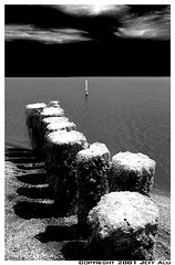 Posts (Jeff T. Alu) Tags: digital black white photoshop posts water salton sea surreal moody lonely dark outdoors bleak blackandwhite deserted illusion zen medetation medetate power impact graphic doom bright earthy dirt gritty intense visionary heat passion 4x4 remote california desolate dreamy nightmare euphoric
