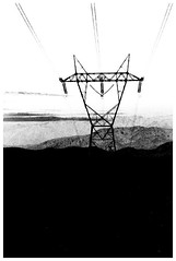 Climb (Jeff T. Alu) Tags: digital black white photoshop powerline hills surreal moody lonely dark outdoors bleak blackandwhite deserted illusion zen medetation medetate power impact graphic doom bright earthy dirt gritty intense visionary heat passion 4x4 remote california desolate dreamy nightmare euphoric