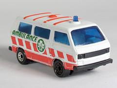 Matchbox 20Iv1 ambulance with green and orange (mattkanvan) Tags: matchbox 20 20i 20iv1 164 vanagon ambulance white green orange vwdb vw diecast