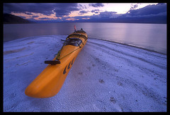 Badwater Lake, Death Valley (Buck Forester) Tags: california lake film nature landscape kayak desert afterthestorm paddle velvia deathvalley superfantastique oneyear kayaks badwater velvia50 prijon