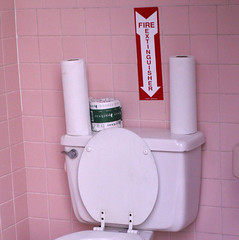 Fire Extinguisher For The Budget Minded (Sister72) Tags: bathroom pink ladiesroom gasstation restroom toilet fireextinguisher sign tank lowbudget monmouthcounty nj