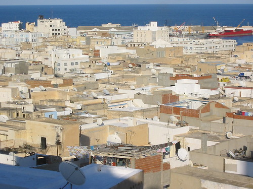 Satellite dishes on the rooftops of Sousse by you.