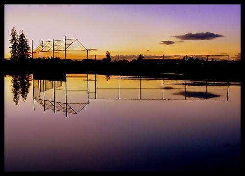Softball field at sunset