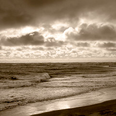 Simple (alterednate) Tags: ocean sea sky beach water sepia clouds 1025fav sand waves horizon nj atlantic capemay tinted fcsea