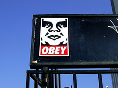Obey (See El Photo) Tags: street blue sky streetart black art giant graffiti cool sticker stickerart bars great obey bluesky explore obeygiant blackiron explorepage giantobey seeelphoto chrislaskaris
