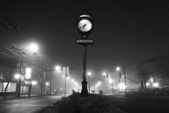 A.M. (Bhlubarber) Tags: street bw clock fog night vancouver mainstreet mountpleasant 200views 1025favs emptyphoto vancouverfog davidniddrie