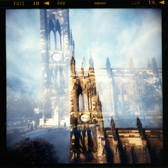 Church of St. Thomas the Martyr (teotwawki) Tags: 2005 bridge sky film church saint clouds holga fuji thomas doubleexposure xx toycamera barras martyr haymarket superia400 anglican dobson