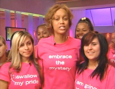 Tyra Banks without make up. Now, whatever cosmetics she's promoting is going