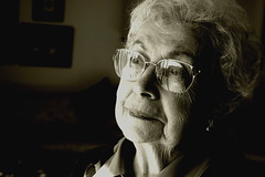 Grandma Taylor (.brian) Tags: family grandma portrait blackandwhite woman reflection face 510fav pensive interestingportrait
