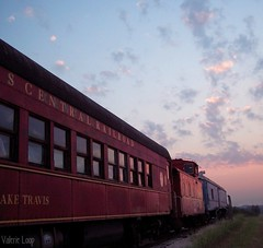 austin steam train association (TexasValerie) Tags: railroad pink blue red sky cars clouds train sunrise austin dawn texas railway asta trainyard daybreak cedarparktexas