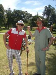 Captain Frug and Fungoir (fungoi) Tags: birthday beer gardens golf costume glamour style safari birthdays fools cowboyhat croquet aviators stkilda safarisuit fungoir