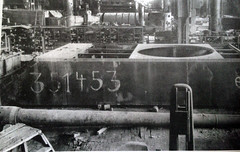 """The hull and turret heavy German tanks """"MAUS"""" discovered by Americans in the shops of the plant of the Krupp firm in Essen. May 1945"""