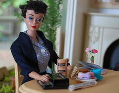 She liked being a secretary (Emily1957) Tags: light portrait haircut fashion barbie number gingham ponytail mattel typewriternikon d40nikonkit lenslightnatural vintagebarbiecommuterset vintageponytailvintage 3dollsdolltoystoysecretarycut ponytailshort hairtammys