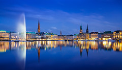 IMG_8045_web - Hamburg Binnenalster pano (AlexDROP) Tags: city travel sky urban colour water skyline architecture night germany postcard famous hamburg panoramic best canon5d bluehour scape picturesque iconic hdr mustsee 2013 ef241054lis