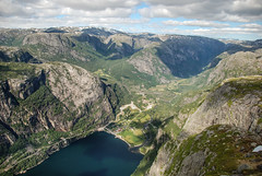 Lysefjord - A view from Kjerag to Lysebotn (Karol Majewski) Tags: cliff water norway landscape bay stavanger gulf valley fjord scandinavia dolina woda rogaland lysefjord kjerag ryfylke lysebotn krajobraz norwegia zatoka skandynawia