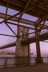 Brroklyn Bridge (ronnymariano) Tags: nyc bridge summer newyork water architecture us twilight unitedstates streetphotography landmark brooklynbridge eastriver highiso 2015 violetsky