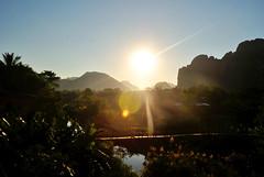 Vang Vieng (makingacross) Tags: laos pdr nikon d3000 vang vieng vangvieng mountains sky trees sunset nam song river namsong