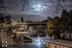 Roman the river of tranquility (alun.disley@ntlworld.com) Tags: chester riverdee night longexposure boats liesurecraft reflections river water cheshire northwestengland moon weather seasons clouds nature uk trees bandstand tourism bridge suspensionbridge