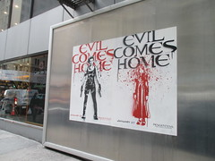 Resident Evil - Evil Comes Home Movie Poster 1174 (Brechtbug) Tags: resident evil comes home movie poster billboard sidewalk display destruction milla jovovich video game film nyc 02022017 new york city cinema marquee flickr motion december 2017 black white red graphic illustration scifi science fiction post apocalyptic future dystopia futuristic war zone female warrior amazon amazonian