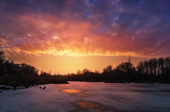 Winter sunset (Pásztor András) Tags: winter sunset clouds forest frozen lake freeze ice snow blue yellow sky magenta sun light 18mm landscape nature dslr nikon d5100 hungary andras pasztor photography 2017