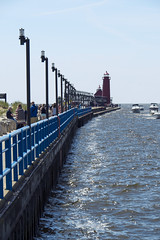 Grand Haven - The Pier (DJ Wolfman) Tags: blue red summer lighthouse lake lighthouses michigan olympus lakemichigan michiganfavorites omd grandhaven michiganlighthouses grandhavenmi summerinmichigan olympusomd em5ii