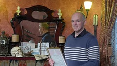 Richard Burnip with his certificate (photo by Roger Johnson)