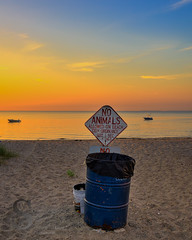 No animals allowed on Beach (Singing With Light) Tags: summer moon sunrise photography sony july kitlens ct milford 17th 2015 pointbeach mirrorless wildermerebeach sony1628 singingwithlight singingwithlightphotography alpha6000 sonya6000 sony24240