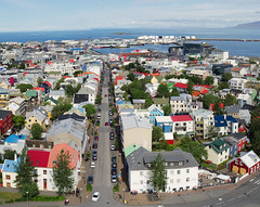 Colorful Roofs of Reykjavik (gacrichards) Tags: travel urban church skyline iceland cities hallgrimskirkja reykjavik lutheran iconic reykjavikchurch lutheranchurch iconicstructures downtownreykjavik worldcities worldcapitols oldtownreyjavik