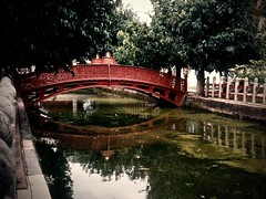 Thailand (7) (The Spirit of the World ( On and Off)) Tags: moat bridge ironbridge water reflections waterreflections wat marbletemple marble architecture ercolemanfredi bangkok thailand southeastasia sightsinbangkok film 1987 analogphotography print