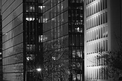 Office Buildings (phardon) Tags: building skyscrapper office business working architecture blackandwhite bw night facade reflection