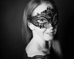 Alexandra (CHCaptures) Tags: monochrome model blackandwhite woman sony sel55f18z beauty dish mask black dark backround studio portrait