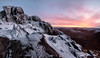 Fire v Ice Bearnagh Panorama (Glen Sumner Photography) Tags: stone rock loughshannagh slieveloughshashana landscape rugged ireland nature doan dramaticsky tor summit landscapes hill evening snow sunset slievebearnagh vista red purple panorama peak pink color mournes northernireland ice isolated yellow colour mountain