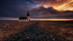 Iceland 2016 #20 (Ramón Menéndez Covelo) Tags: church iceland horizontal outdoors panoramic landscape scenery awesome otherworldly colourful travel destination iconic location snaefellsnes hellnar village old discover dark moody ambient