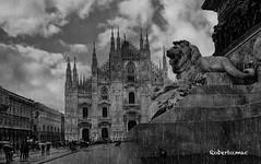 OH MIA BELA MADUNINA...:-)) (Roberto.mac.) Tags: milano citta duomo madunina pioggia leone bw fantasiadelbw arte cultura robertomac