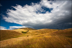 Storm approaching (katepedley) Tags: north canterbury canterburynz south island southisland new zealand newzealand canon 5d 1740mm polariser storm clouds grass ruralnz rural farm station highcountry foothills fault mapping fieldwork geology summer cloud hills