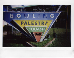 Entertainment now (ale2000) Tags: instax instant instaxwide fuji wide lomoinstantwide lomography analog analogue italian sign signboard nowandthen present past insegna cartello palestra squash bar bowling entertainment type lettering oldfashioned vecchio foundtype