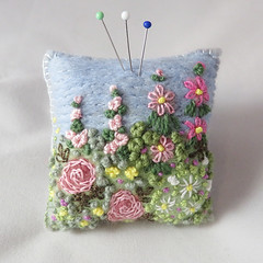 garden pincushion - felted and embroidered (Lynwoodcrafts) Tags: garden flowers embroidery embroidered felt felted pink rose roses pincushion embroideredpincushion