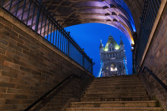 Walk Under The Tower (JH Images.co.uk) Tags: london hdr dri night bluehour tower bridge towerbridge stairs steps looking up lights architecture