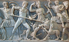 Sarcophagus detail Rome (Lark Ascending) Tags: sarcophagus tomb coffin stone sculpture fighting naked men spear shaft rome italy museum marble wildboar hunt boar hounds