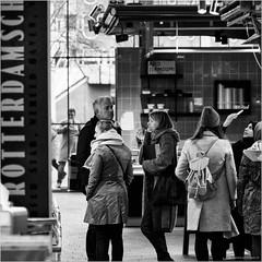 Rotterdamsch (John Riper) Tags: johnriper street photography straatfotografie square vierkant bw black white zwartwit mono monochrome netherlands candid john riper fuji fujifilm xt1 18135 markthal rotterdamsch people shopping watching abid jermoumi