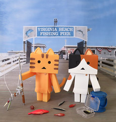 Tora & Mike Catch Dinner (MurderWithMirrors) Tags: danboard danbo nyanboard sofubitoybox kaiyodo revoltech rement fish fishingpole creel mwm